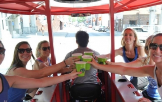 Bachelorette party having a great time on the Pedal Crawler pedal bar