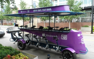 Great shot of the Microsoft party bike by Pedal Crawler in Kansas City, Missouri