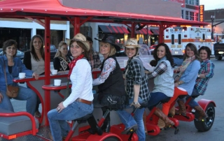 Bachelorette party having a great time on the Pedal Crawler pedal tavern in Nashville